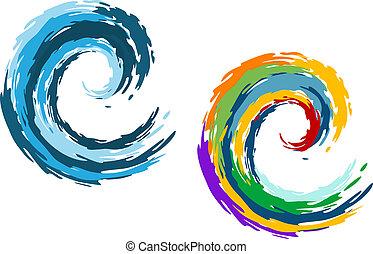 blauwe , en, kleurrijke, zeegolven