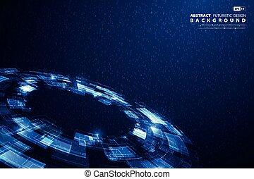 blauwe , eps10, groot, abstract, illustratie, achtergrond., vector, technologie, data, futuristisch