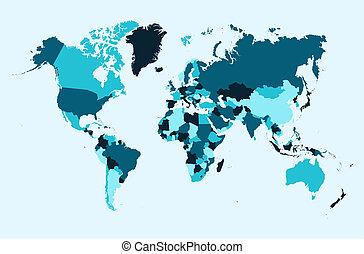 blauwe , eps10, landen, kaart, vector, illustratie, wereld, ...