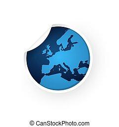 blauwe , europa, sticker, kaart, pictogram