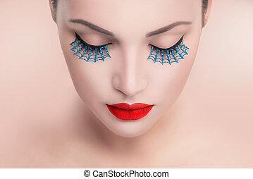 blauwe , eyelashes, mode, vals, beauty, face., lippen, vrouw beeltenis, sexy, model, rood