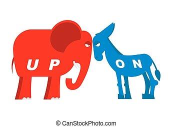 blauwe , ezel, usa, symbool, elefant, politiek, republicans., tegen, verkiezingen, symbolen, america., policy., democraten, oppositie, partijen, debate., amerikaan, rood