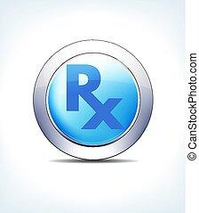 blauwe , farmaceutisch recept, rx, &, knoop, recept,...