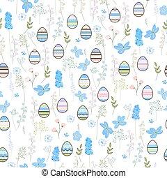 blauwe , feestelijk, model, eitjes, seamless, pasen, flowers., ontwerp, lente, terture, eindeloos