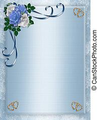 blauwe , feestje, uitnodiging, trouwfeest, rozen