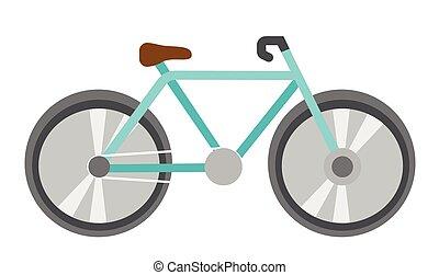 blauwe , fiets, vector, spotprent, illustration.