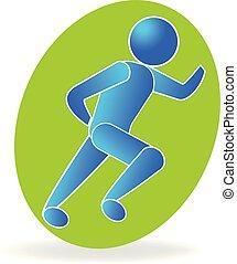 blauwe , fitness, sportende, logo