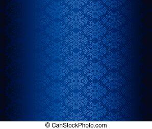 blauwe , floral, behang, luxe, seamless