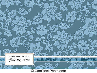 blauwe , floral, frame, vector, achtergrond