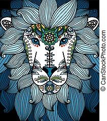 blauwe , floral, hoofd, ornament, leeuw