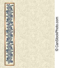 blauwe , floral rand, perkament