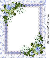 blauwe , floral, uitnodiging, mal