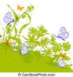 blauwe , floral, vlinder, groene achtergrond