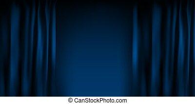 blauwe , fluweel, optie, kleurrijke, cinema., illustratie, realistisch, vector, folded., thuis, gordijn