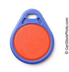 blauwe , fob, rfid, plastice sleutel, vooraanzicht