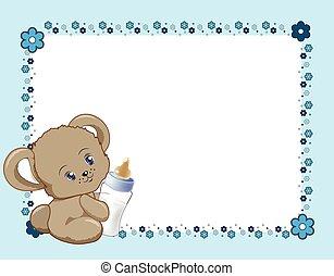 blauwe , frame, bloem