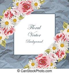 blauwe , frame, met, bloemen
