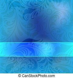 blauwe , frame, op, seamless, floral, ouderwetse , achtergrond