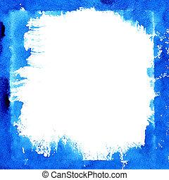 blauwe , frame, plein, inkt