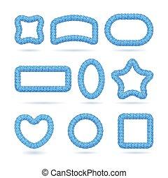 blauwe , frame, set, lollipop
