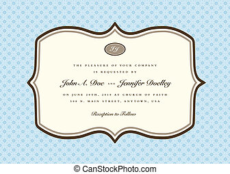 blauwe , frame, vector, afgerond, uitnodiging