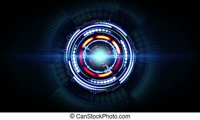 blauwe , futuristisch, vorm, animatie, rood, circulaire, lus...