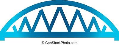 blauwe , gebogen, brug, pictogram