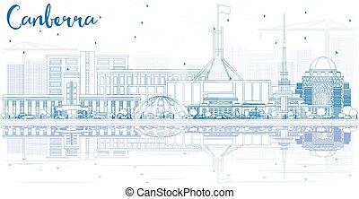 blauwe , gebouwen, schets, canberra, skyline, reflections.