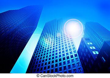 blauwe , gebouwen, toon, wolkenkrabber, zakelijk