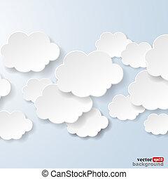 blauwe , gebruikt, wolken, licht, abstract, illustratie, achtergrond., vorm, vector, toespraak, sociaal, eps10, bellen, netten