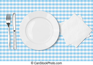 blauwe , gecontroleerde, vork, schaaltje, op, servet, weefsel, tafelkleed, bovenzijde, mes, aanzicht