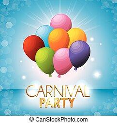 blauwe , gekleurde, carnaval, helder, achtergrond, feestje, ballons