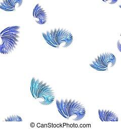 blauwe , gekleurde, model, seamless, witte , fractal, vleugels