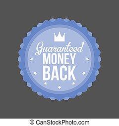 blauwe , geld, guaranteed, back, illustratie, vector, badge