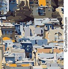 blauwe , gele, grijze , en, bruine , schilderij, abstract, achtergrond