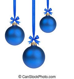 blauwe , gelul, drie, samenstelling, hangend, kerstmis, lint