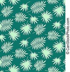 blauwe , gemaakt, model, bladeren, seamless, palm, achtergrond, groene