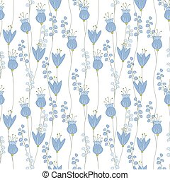 blauwe , gemaakt, model, seamless, floral, bloemen