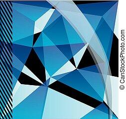 blauwe , geometrisch patroon, driehoeken