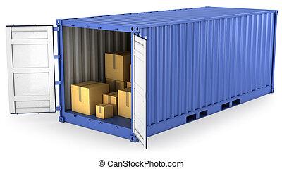 blauwe , geopend, container, met, karton, dozen, binnen