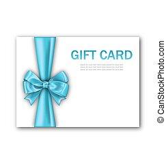 blauwe , geschenk buiging, kaart, verfraaide, lint