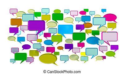 blauwe , gesprek, kleurrijke, iconen
