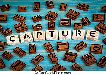 blauwe , gevangen nemen, woord, houten, alfabet, geschreven, hout, achtergrond, block.