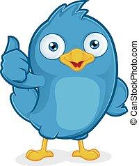 blauwe , geven, duimen, vogel, op