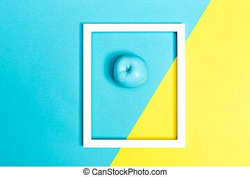 blauwe , geverfde, helder, appel, achtergrond