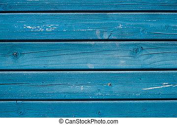 blauwe , geverfde, -, houten, hout, achtergrond, grondslagen