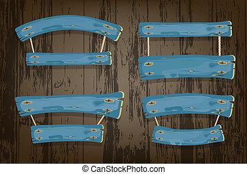 blauwe , geverfde, vector, grondslagen, houten