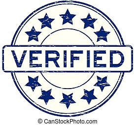 blauwe , geverifieerde, postzegel, rubber, grunge, ster, ronde, pictogram