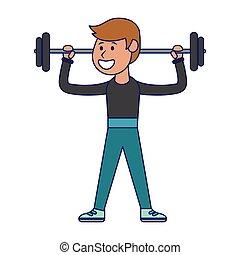 blauwe , gewichten, atleet, lijnen, het tilen