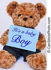 blauwe , gezegde, jongen, het is, teddy beer, meldingsbord, vasthoudende baby